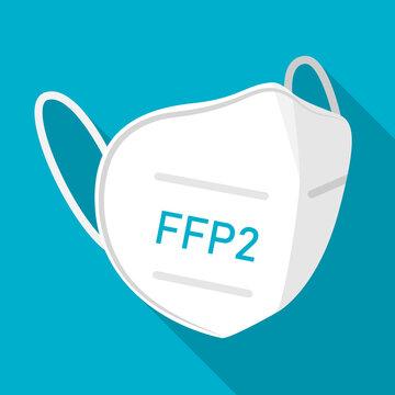 FFP2 face mask icon symbol sign flat design vector illustration