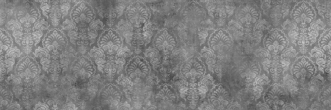 Damask pattern and cement texture background