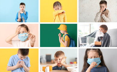 Collage of little children ill with flu