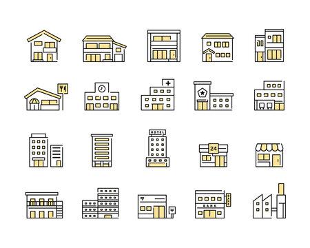 色々な建物・施設のアイコンセット ビル 家 イラスト 住宅 マンション ホテル お店 学校 病院