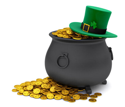 St. Patrick's Day. Green Leprechaun Hat with Clover and Treasure pot full of gold coins. isolated on white background. 3d render.