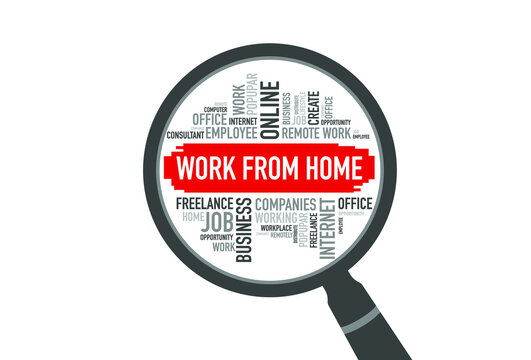 WORK FROM HOME word cloud with magnifying