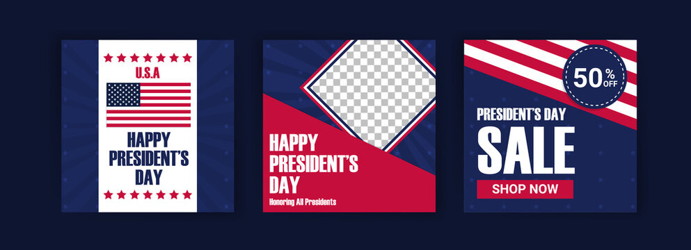 US President's Day greeting card displayed with the national flag of the United States of America. Social media templates for US president's day.