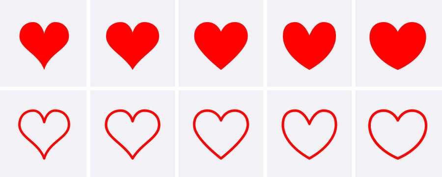 Red heart Icons set.