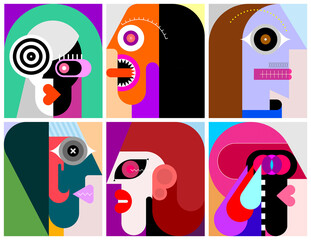 Six People Portraits modern art vector illustration. Six different faces.