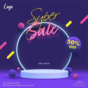 Super Sale Poster Design With 50% Discount Offer On Purple Background.