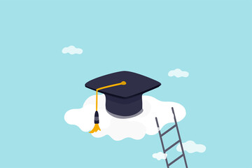High education, cost and expense to graduate high degree education concept, graduation cap on high cloud with ladder. - fototapety na wymiar