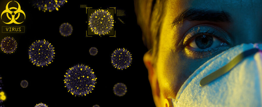 health, safety and pandemic concept - close up of young woman wearing protective mask or respirator over coronavirus virions on black background