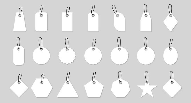Set of sale shopping labels with rope. Realistic blank white paper price tags or gift tags. Set of sale shopping labels with rope. Vector