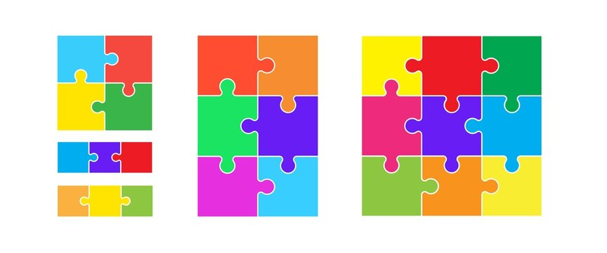 Colorful puzzles grid. Jigsaw puzzle 9, 6, 4 and 3 pieces