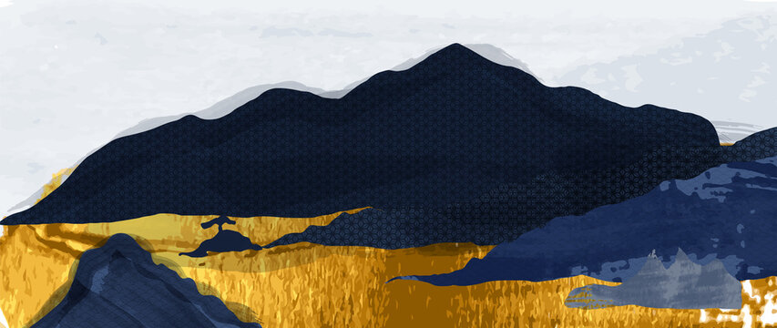 Luxury gold oriental style background vector. Mountain landscape wallpaper. Japanese , Chinese oriental line art with golden texture, Swan bird and sun. Natural Wall arts for print and home decor.