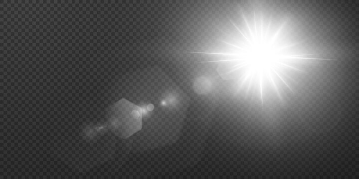 Sun with glare on a transparent background.  Star shines with pleasant rays on a white isolated background. Vector illustration.