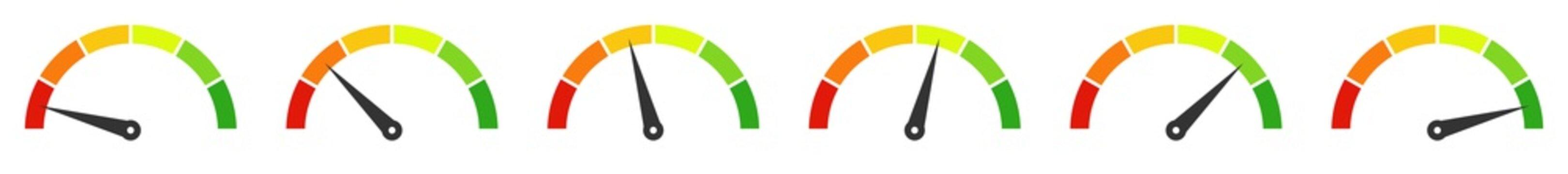 6 Tachometer zeigen Performance, Leistung oder Geschwindigkeit an