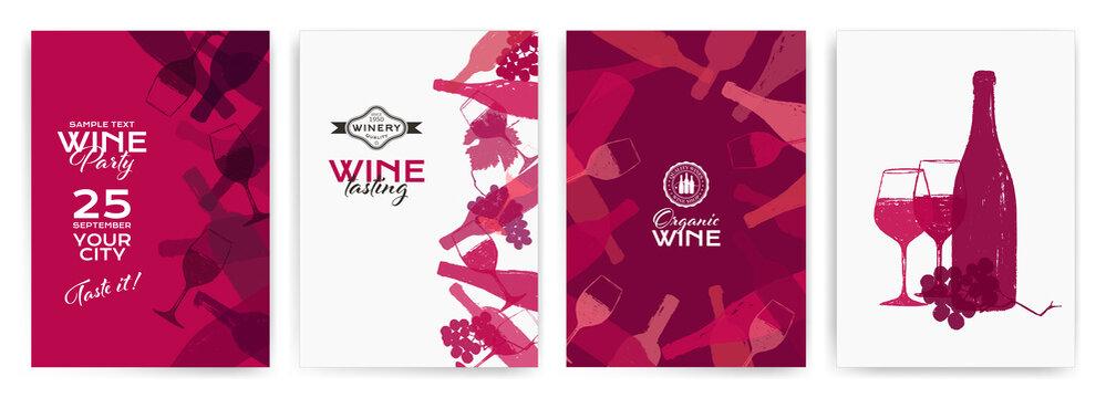 background illustration for wine designs. Handmade drawing of wine glasses, bottles, grapes and vine leaf.