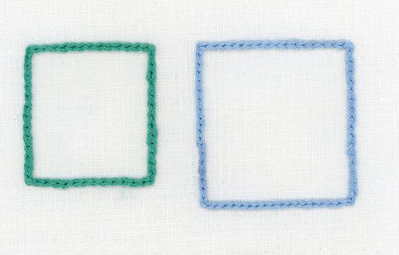 チェーンステッチのフレーム刺繍