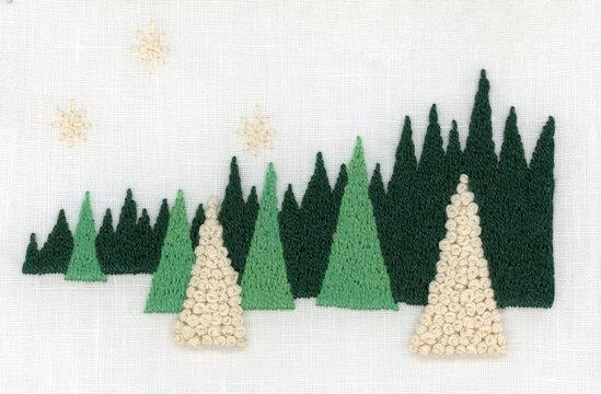 森の白い光の刺繍