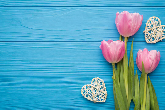 Flat lay photo of three tender pastel color tulips on green stems with hearts around isolated on bright desk with blank empty space