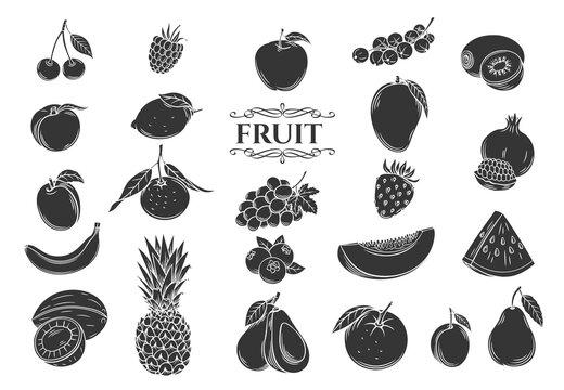 Fruit glyph icons set