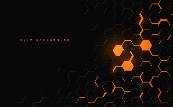 Abstract black and orange hexagonal background