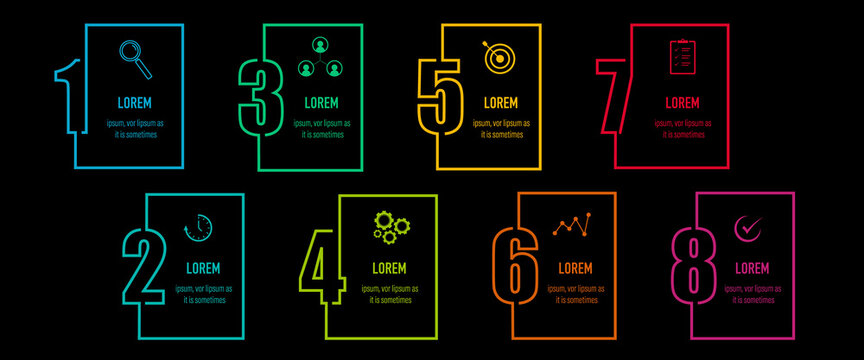 Infographics design vector and business icons with 8 options in neon outline number design for presentation and web site