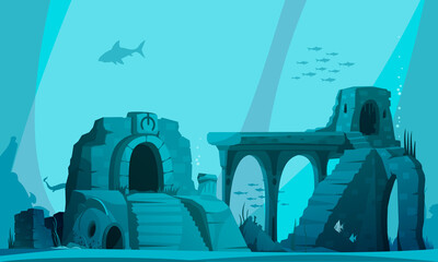 Flooded Atlantis Vector Illustration