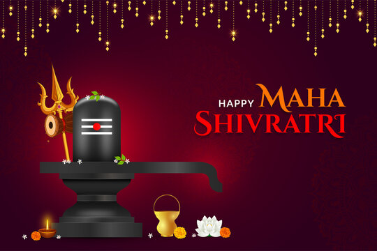 Happy Mahashivratri Shivlinga with Trishul background