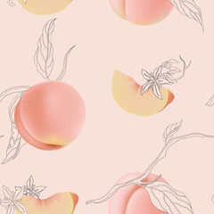 Fruit seamless pattern, peaches with flowers and leaves on bright pink