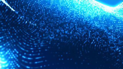 Fototapeta Dot blue wave light screen gradient texture background. Abstract ai technology big data digital background. 3d rendering.