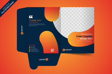 Presentation folder template design, Folder design, cover for catalog, brochures, - fototapety na wymiar