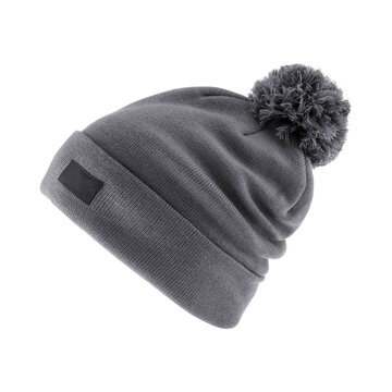 Gray Wool Ski Knit Hat with a Faux Fur Pompom Isolated on White Background. Outdoors Casual Winter Two Tone Hat Knitting Pattern with Pom Pom