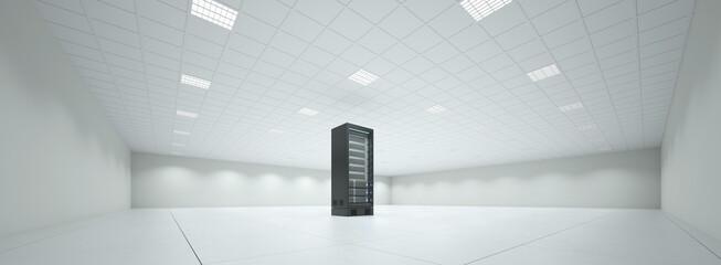 Einzelner Schrank mit Server im Serverraum - fototapety na wymiar