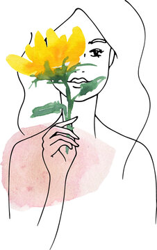 line drawing woman people clipart black woman png face line art hand drawn flower floral sketch sunflower girls digital clipart women watercolor