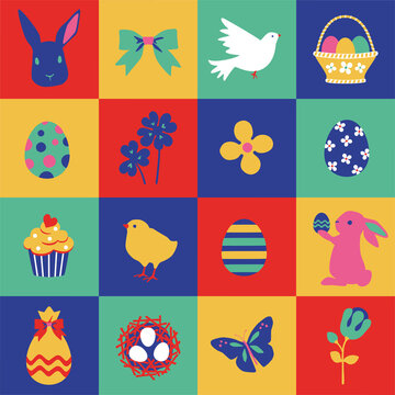 Easter collection of seasonal elements, hand drawn items, vector design, Tapestry