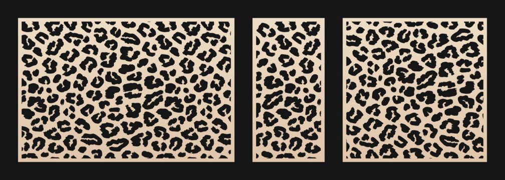 Laser cut patterns. Vector design with leopard skin print, abstract texture. Template for cnc cut, decorative panels of wood, metal, plastic, paper. Trendy cutting design. Aspect ratio 3:2, 1:2, 1:1