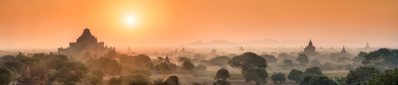 Panoramic view of Dhammayangyi temple at sunrise, Old Bagan, Myanmar