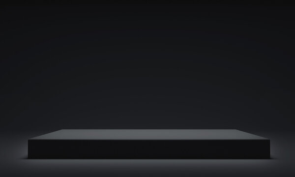 Realistic dark platform, stage with empty pedestal. 3d rendering
