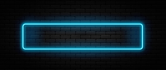Neon sign in rectangle shape. Bright neon light, illuminated rectangle frame. Glowing blue neon tube on dark background. Signboard or banner template in 80s and 90s style - fototapety na wymiar