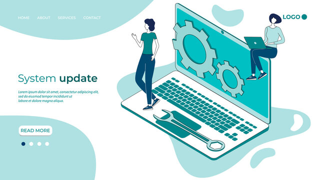 System update .Operating system maintenance.The modern concept of maintenance of operating systems for web design. Communication technology.Business concept.Isometric vector image.3D-image.