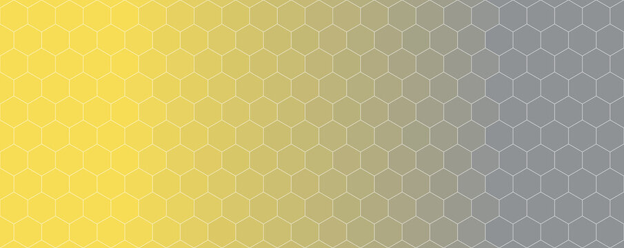 Hexagon pattern with illuminating yellow to ultimate gray gradient, abstract background illustration
