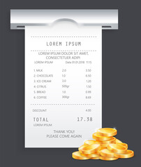 Wall Mural - Payment check paper document poked out of the cash register near a pile of gold coins isometric. Buying financial invoice bill purchasing calculate pay. Cash, money, buying and selling concept