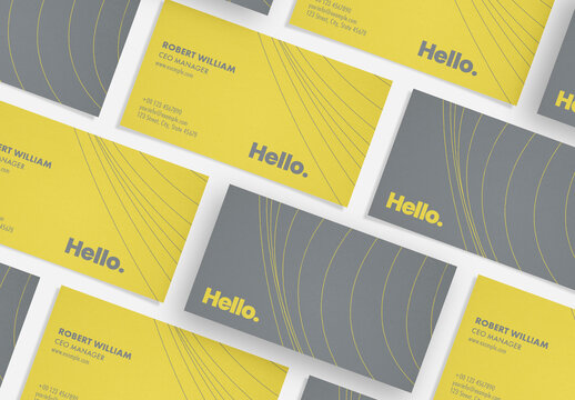 Business Card Layout with Yellow and Gray Accents