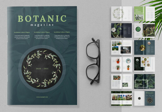Botanic Magazine Layout with Green Accents