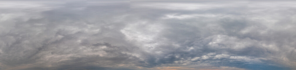 Sky panorama on overcast rainy day with low clouds in seamless spherical equirectangular format. Complete zenith for use in 3D graphics, game and for aerial drone 360 degree panorama as a sky dome Fotobehang