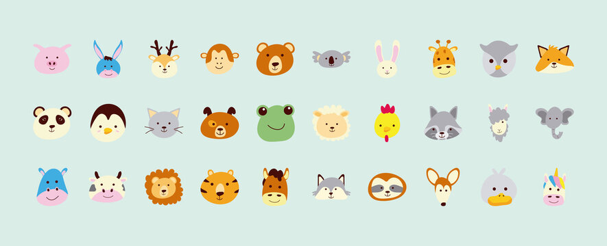 bundle of thirty cute little animals heads characters