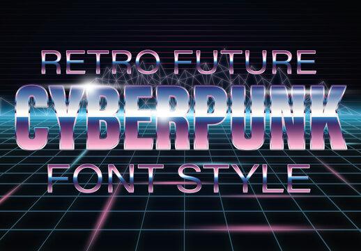Cyberpunk Retro Sci-Fi Font Style Mockup
