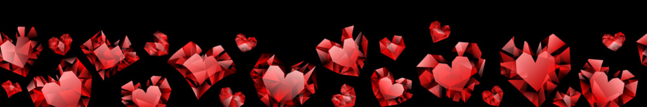 Banner of red hearts made of crystals witn shadows on black background