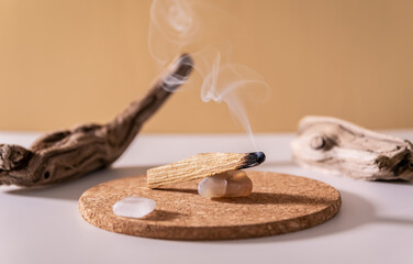 Obraz Peruvian palo santo holy wood smoke. Esoteric objects for meditation, antistress and relaxation purifying concept. Smudge kit for spiritual practices. - fototapety do salonu