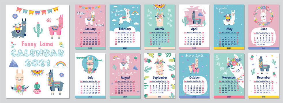 2021 Cute monthly calendar with llama,luggage,cactus,geometrical for children.Can be used for web,banner,poster,label and printable