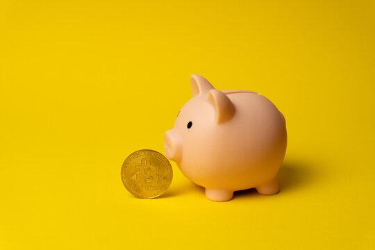 Cryptocurrency Bitcoin near piggy money box as symbol of financial revolution