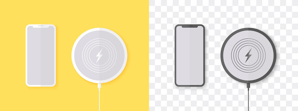 Wireless charger. Round wireless charger with phone. Trendy design. Vector illustration